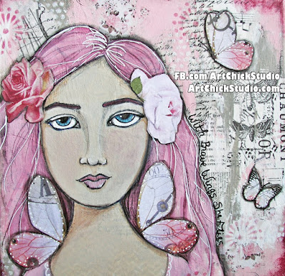 With Brave Wings She Flies Mixed Media Girl