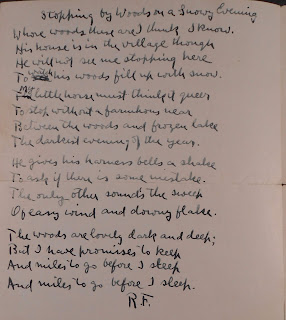 "Manuscript of ""Stopping by Woods on a Snowy Evening"""