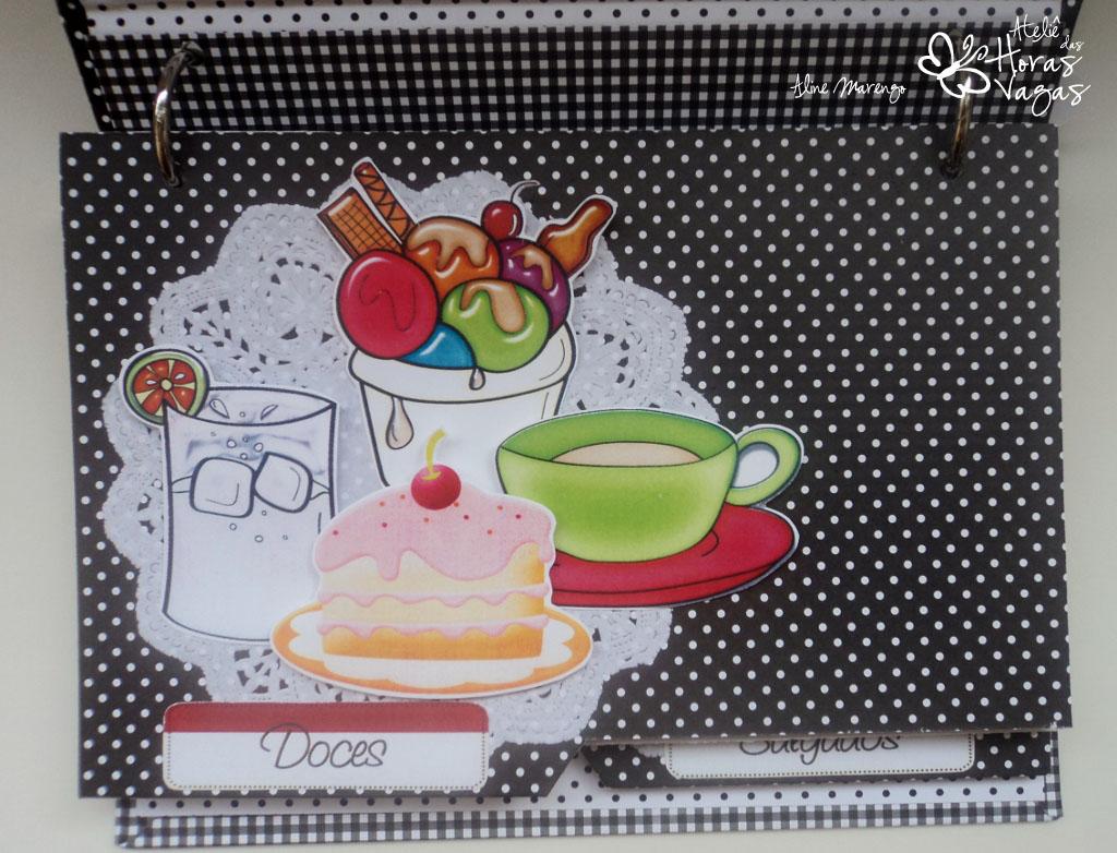 livro de receitas personalizado preto e branco chá cozinha panela