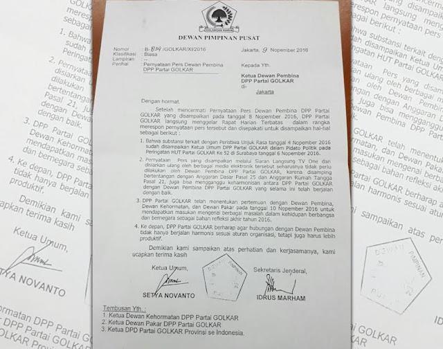 Heboh, Beredar Surat DPP Golkar Tegur Ical : Berita Terbaru Hari Ini