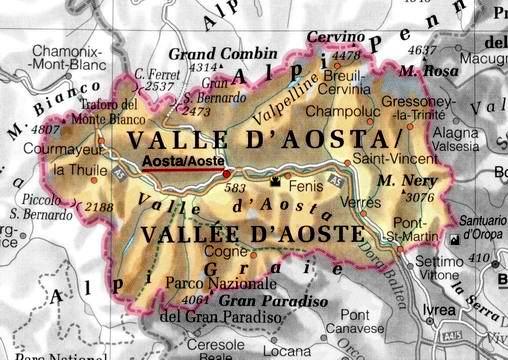 Italia Mappa Regionale: Mappa della Valle D'Aosta Regionale