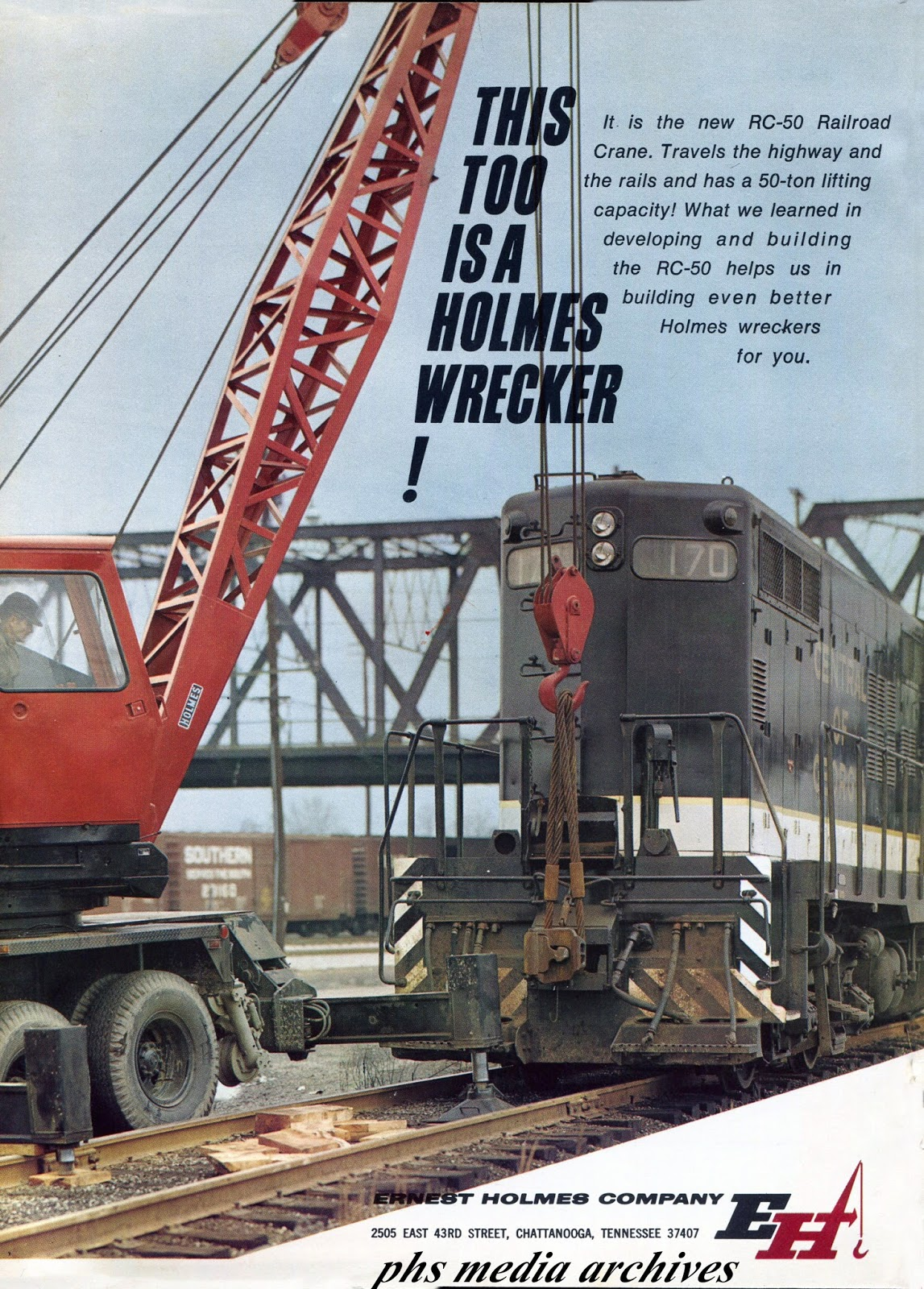 The holmes rc 50 railroad crane is what you need to get that derailed allison locomotive back on track