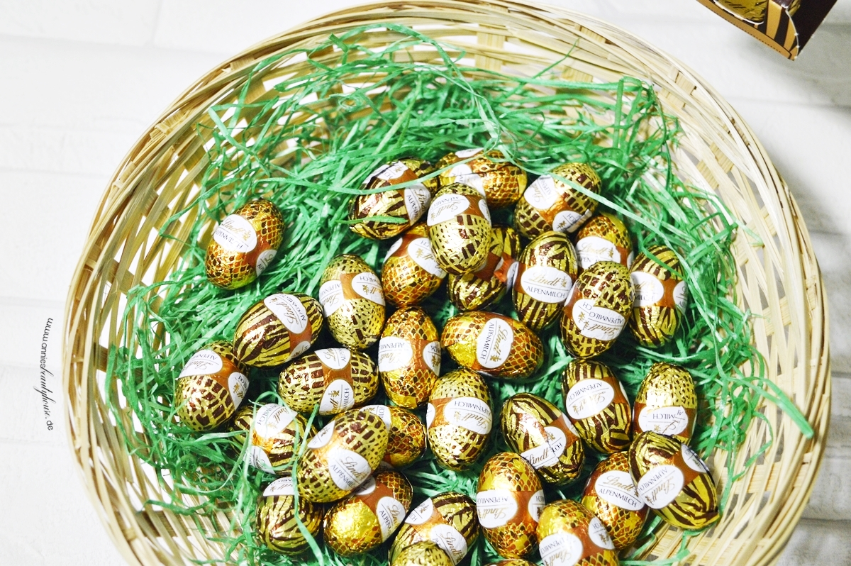Easter basket with mini chocolate eggs