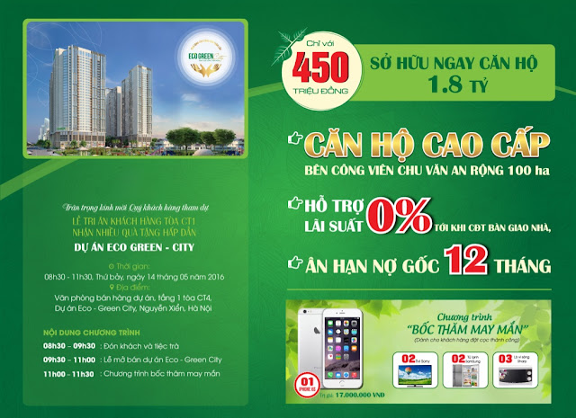 HOT NEWS can ho op kinh hien dai Eco Green City Viet Nam