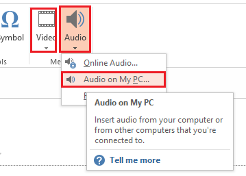 Insert audio or video file