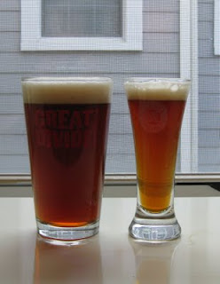It is amazing how much the glass can affect the color of a Red Ale.