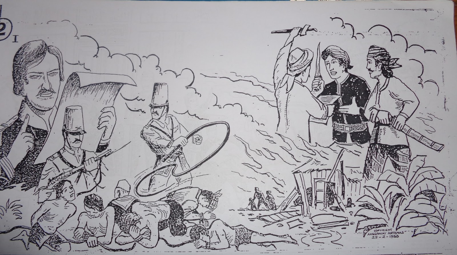 Sketsa Gambar Ilustrasi Gotong Royong
