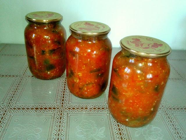 рецепт консерви з баклажанів,помідорів і перцю