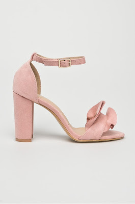 Answear - Sandale SDS roz ellegante cu toc gros roz piele intoarsa