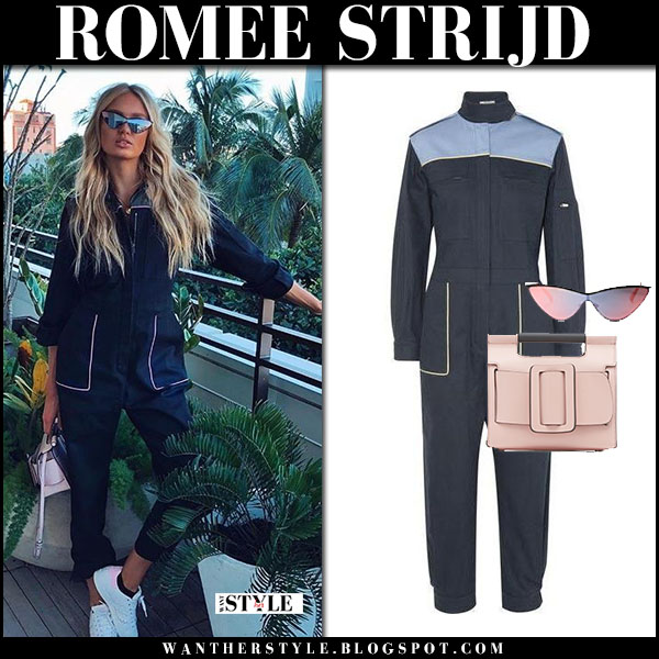 Romee Strijd in navy jumpsuit miu miu, white adidas sneakers with pink bag boyy model style february 16