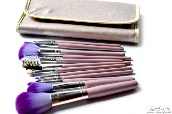 Twelve makeup brushes with leather roll