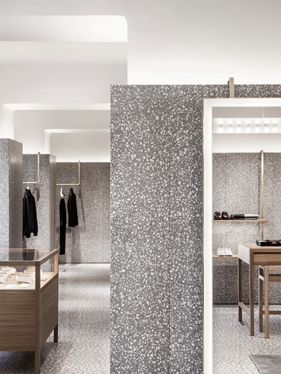 Terrazzo walls and floor in Valentino Flagship store in Rome by David Chipperfield Architects