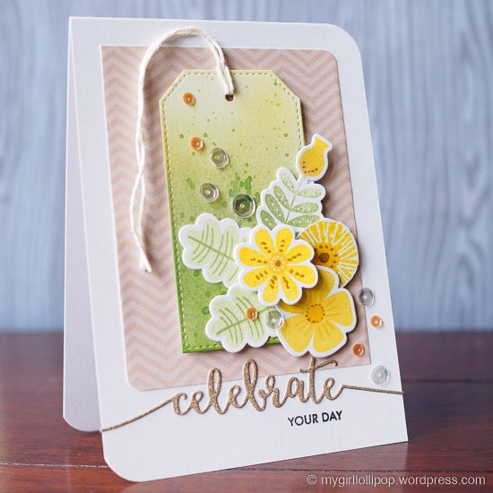 Fall Florals stamp set and Die-namics and Stitched Traditional Tag STAX Die-namics - Gemma C. #mftstamps