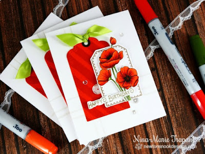 Poppies Flower card by Nina-Marie Trapani | Flower Garden stamp set by Newton's Nook Designs #newtonsnook