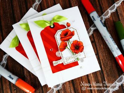 Poppies Flower card by Nina-Marie Trapani | Flower Garden stamp set by Newton's Nook Designs #newtonsnook