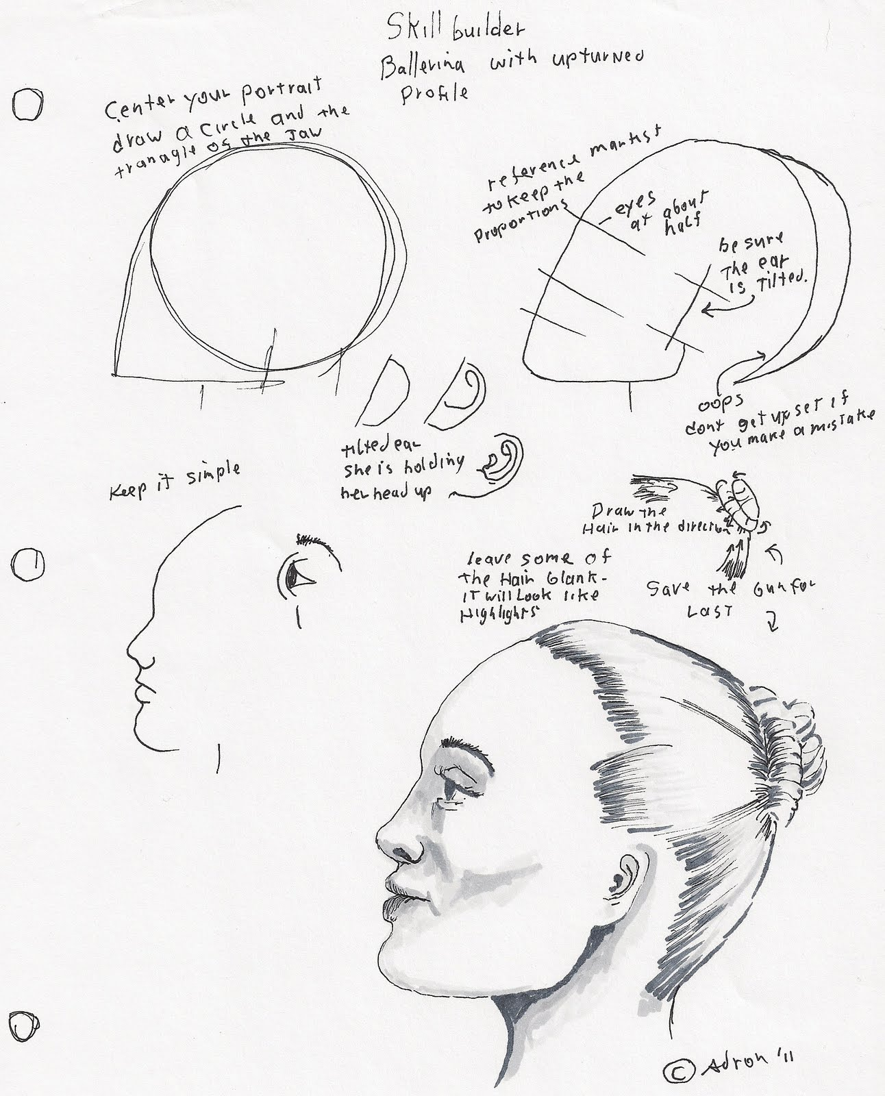 Adron S Art Lesson Plans How To Draw A Woman S Face Profile