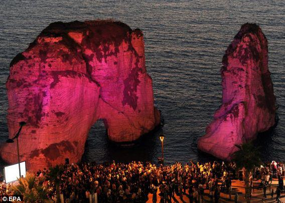 My Beloved Lebanon: Beirut's Twin Raouche Rocks in PINK for