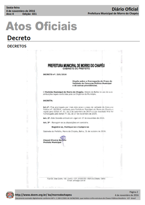 Prefeitura de Morro do Chapéu Prorroga validade de concurso para AGENTE COMUNITÁRIO DE SAÚDE
