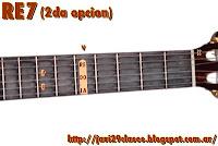 acordes de guitarra con séptima o dominante de SOL 2da posición