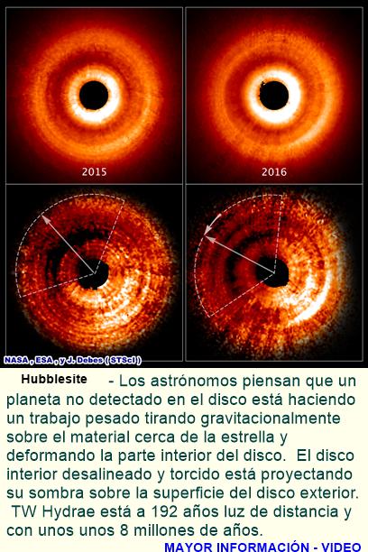 Hubble Captura 'Juego de sombras' Causada por un Posible Planeta