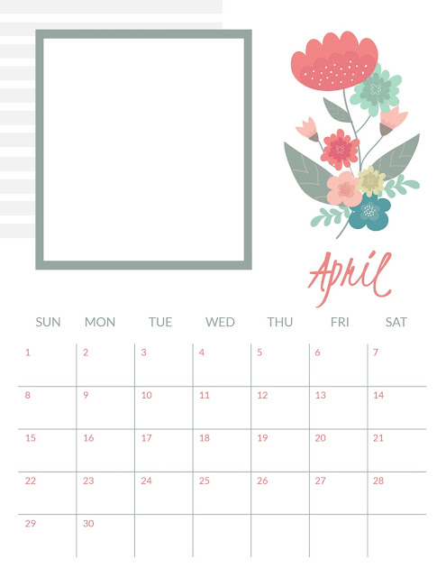 Personalized Photo April 2018 Calendar with Sunday as the first day of the week