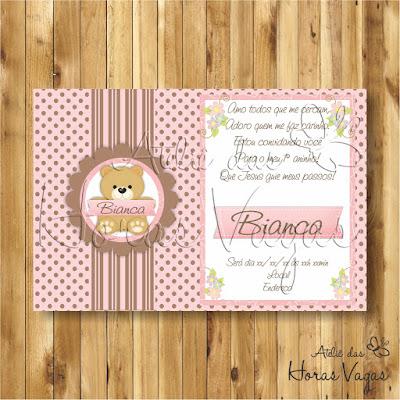 convite digital aniversário infantil personalizado ursinha poá bolinha marrom e rosa 1 aninho urso menina