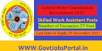 Central Water Commission Recruitment 2017-57 Skilled Work Assistant