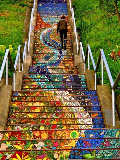 desain mosaik Secret mosaic staircase, desain mosaik landcape, desain mosaik potrait