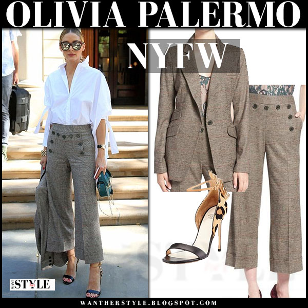 Olivia Palermo in plaid wide leg trousers, white shirt and plaid blazer chelsea28 nyfw front row