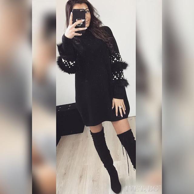 Μακρυμάνικο μπλουζοφόρεμα μαύρο EFREN BLACK