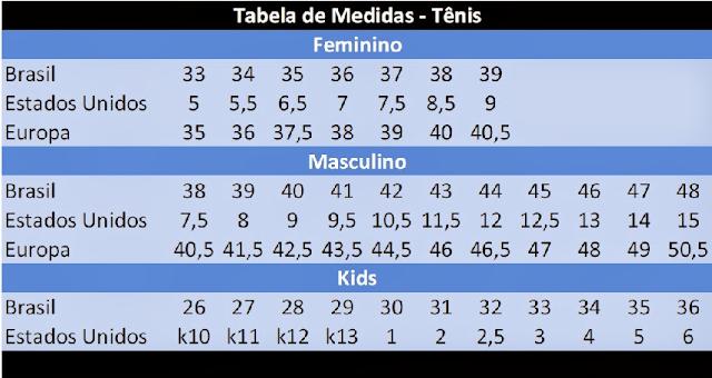 Numeração dos tênis nos Estados Unidos e em Miami
