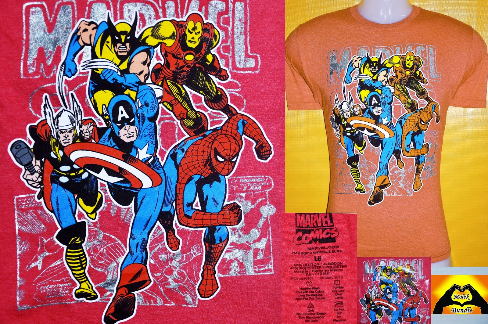 959ab023 BAJU MARVEL Iron Man Spiderman Captain America Thor Action USA Flag Team Up  Vintage T-Shirt