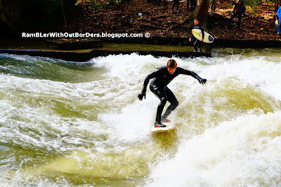 River Surfing on the Eisbach, Munich, Germany