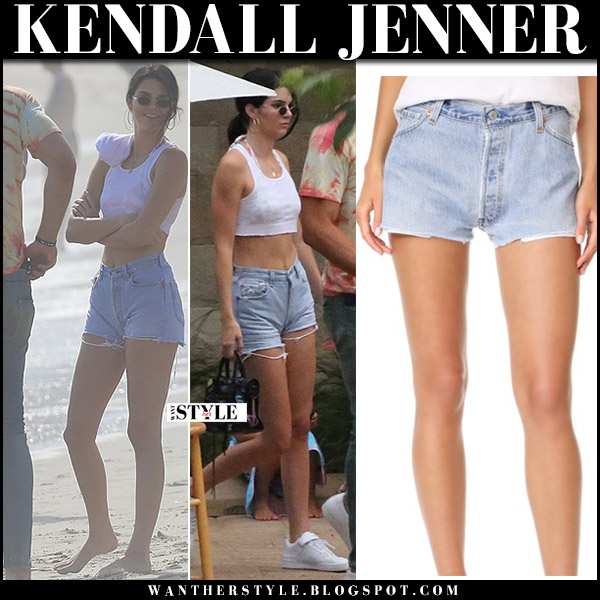 Kendall Jenner in denim shorts and white crop top beach blake griffin september 3 2017