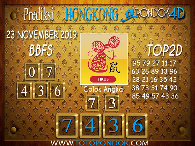 Prediksi Togel HONGKONG PONDOK4D 23 NOVEMBER 2019