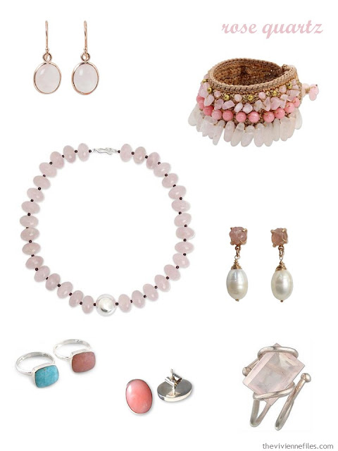 a family of seven pieces of rose quartz jewelry