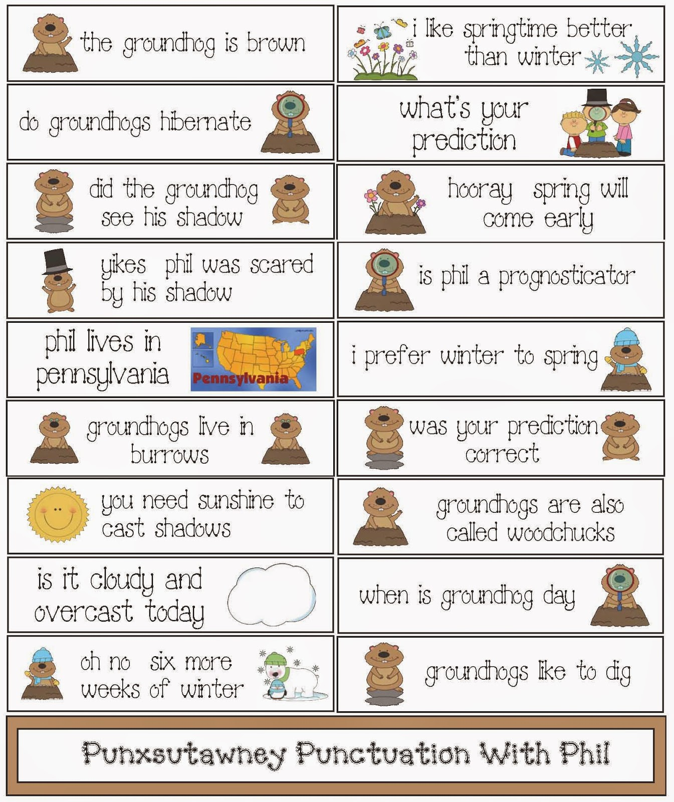 Classroom Freebies Groundhog Day Punctuation Packet