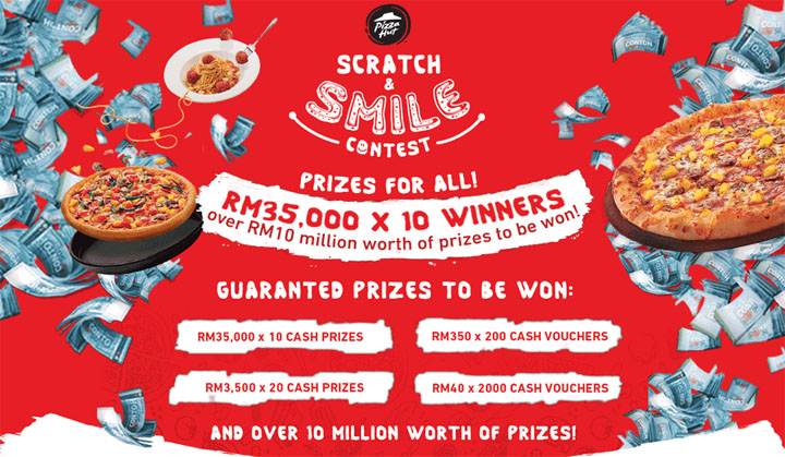 Hadiah wang tunai dalam contest Gores dan Senyum Pizza Hut