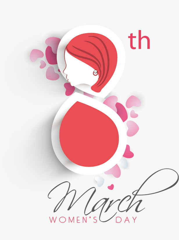March 8 Women 's Day love decoration pattern Free PNG and PSD