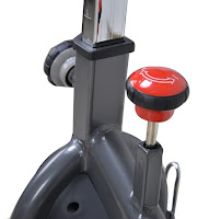Micro-adjustable resistance, press-down brake on Sunny Health & Fitness SF-B1509C and SF-B1509 spin bikes