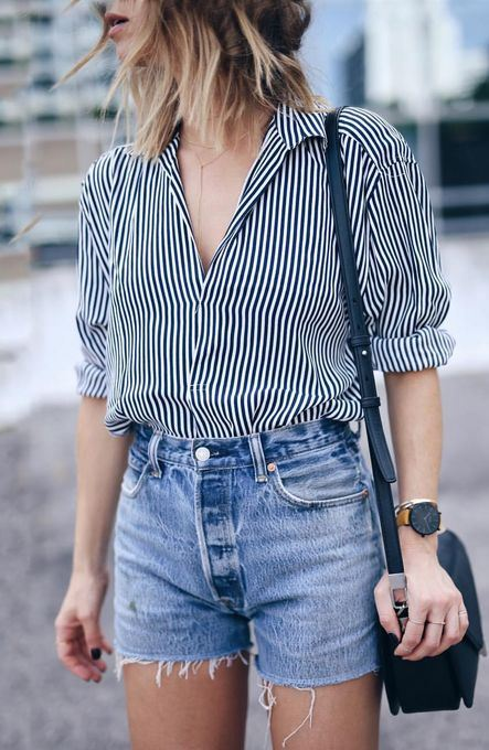 casual style obsession / shirt + bag + denim shorts