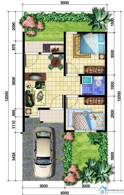 Denah Rumah Ukuran 6 X 12 REFERENSI RUMAH