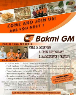 Lowongan Kerja Bakmi GM Bandung 2019 Untuk SMA SMK Sederajat