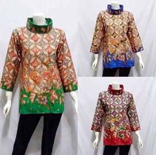 model baju blouse batik wanita untuk kerja