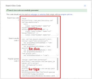 kode iklan search pertama, kedua dan ketiga