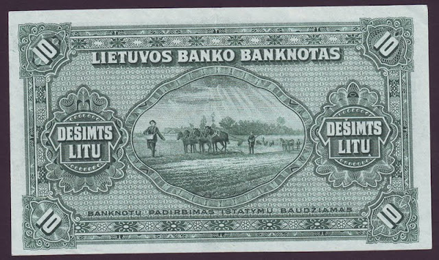 LITHUANIA paper money 10 Litu banknote