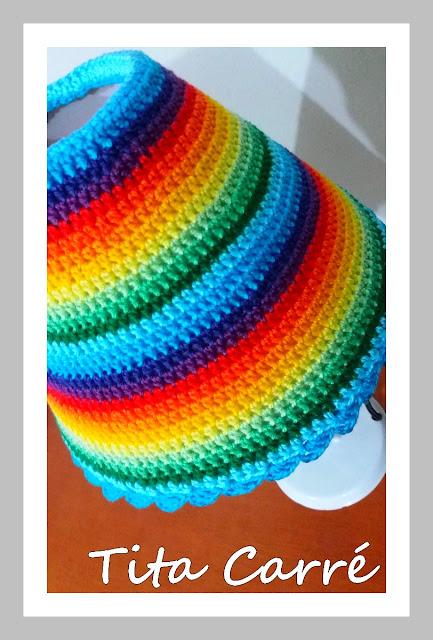 Abajur em Crochet Colorido