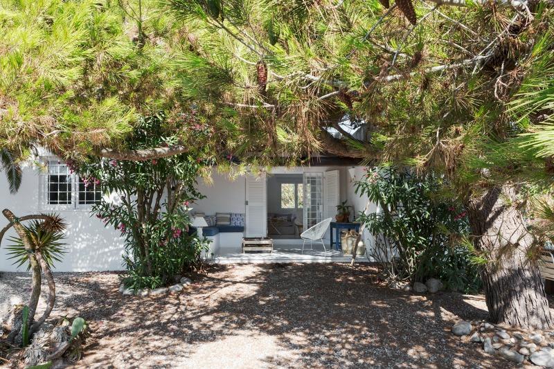 Yucas, adelfas y pinos junto al porche
