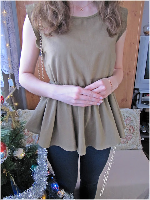 Army green blouse from Zaful