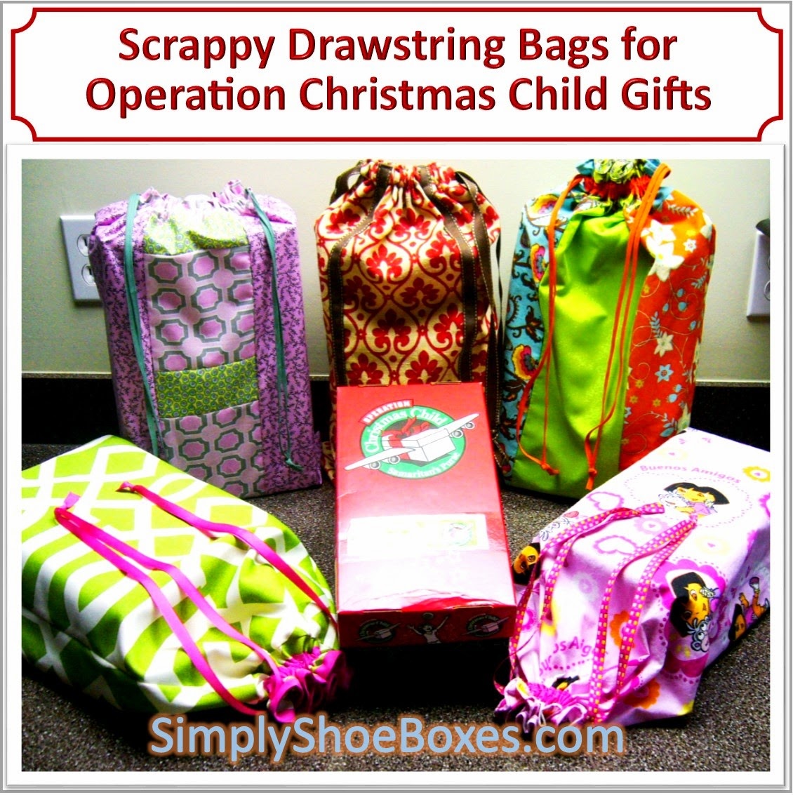 Scrappy Drawstring Tote Bags for OCC Shoe Box Gifts
